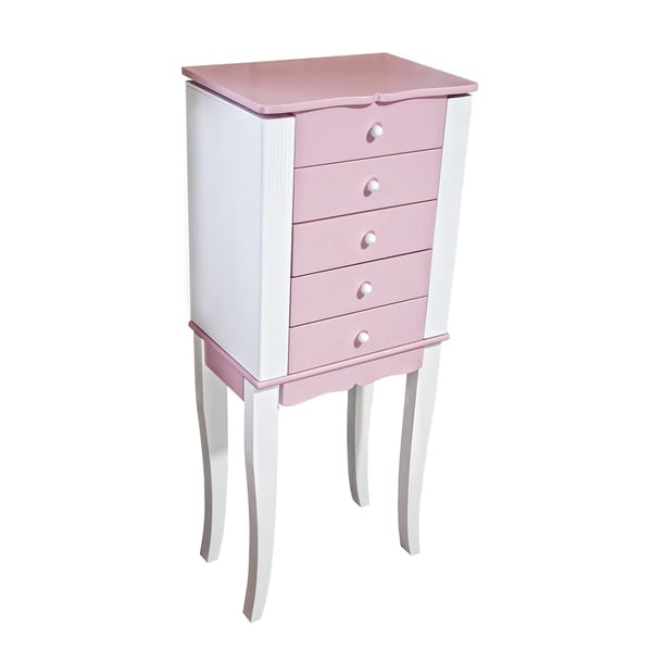 Mele & Co Louisa Girls' Pink/ White Wooden Jewelry Armoire