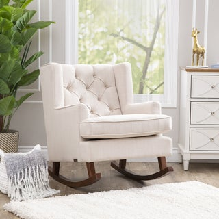 Abbyson Living Thatcher Beige Fabric Rocker Chair