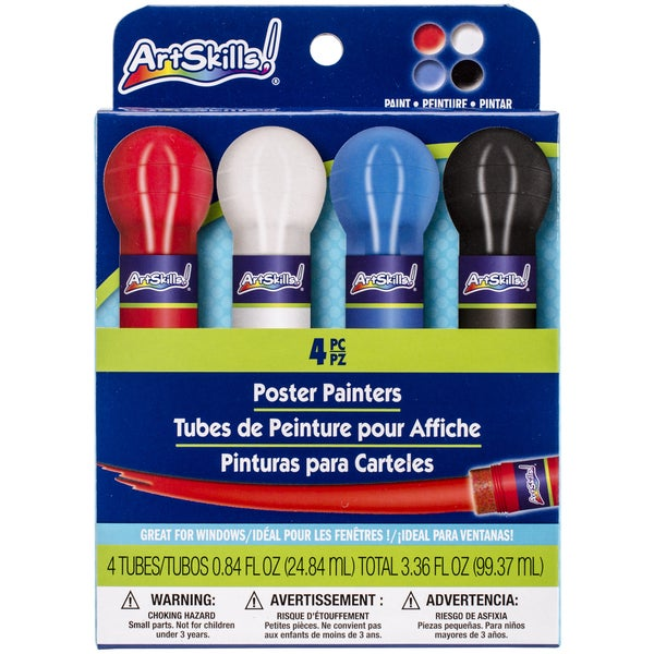 Washable Poster Painters .8oz 4/PkgRed, White, Blue & Black