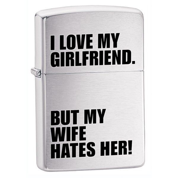 Zippo I Love My Girlfriend Brushed Chrome Lighter