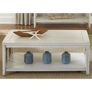 Dockside II White Castered Weaved Rope Cocktail Table