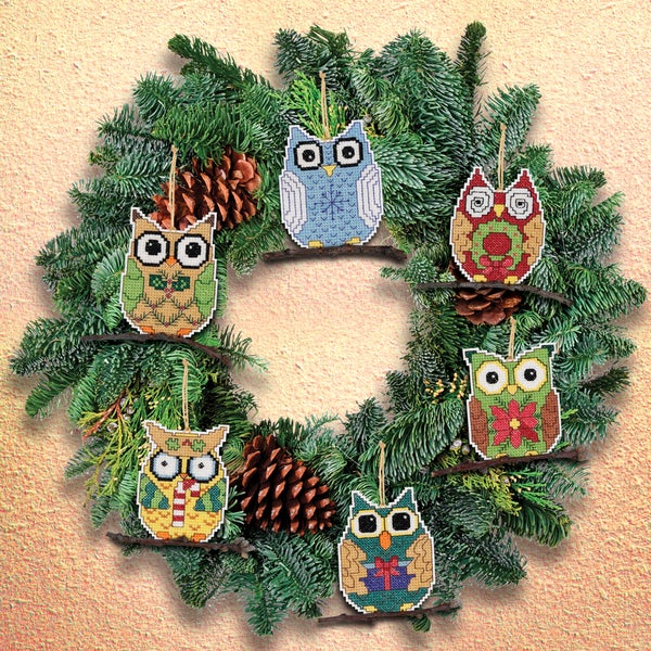 Owl Ornaments Counted Cross Stitch Kit3inX3in 14 Count Set Of 6 16242527