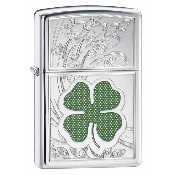 Zippo Four Leaf Clover High Polish Chrome Lighter