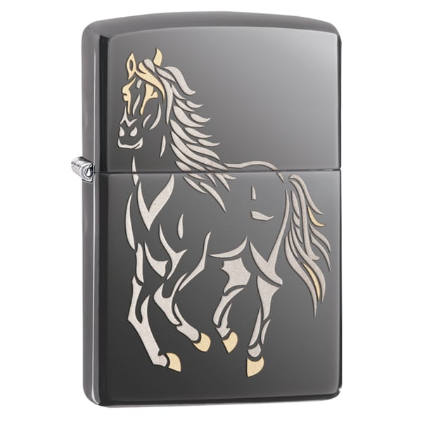 Zippo Running Horse Black Ice Windproof Lighter