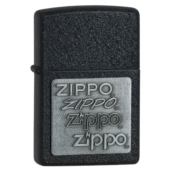 Zippo Silver Emblem Black Crackle Lighter
