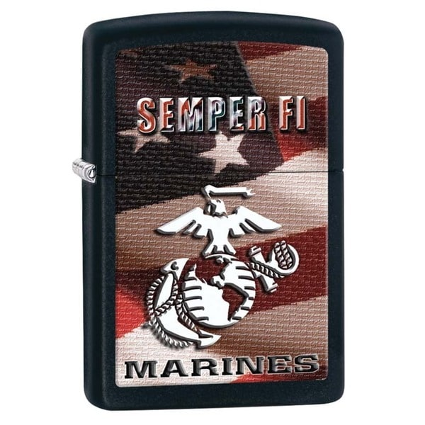 Zippo Semper Fi Black Matte Lighter