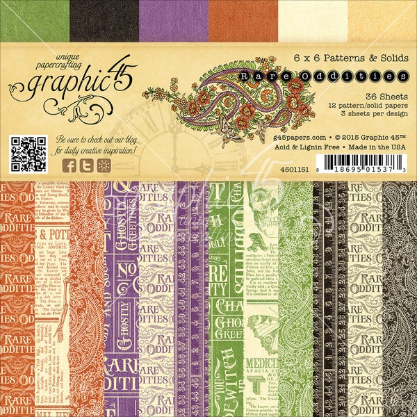 Graphic 45 DoubleSided Paper Pad 6inX6in 36/PkgRare Oddities, 3ea Of 12 Prints & Solids