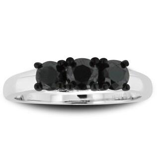 Sterling Silver 1ct TDW Triple Black Diamond Ring (black, I3)