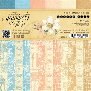 Graphic 45 DoubleSided Paper Pad 6inX6in 36/PkgGilded Lily, 3ea Of 12 Prints & Solids