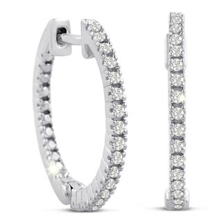 Sterling Silver 1/4ct TDW Pave Style Diamond Hoop Earrings (J-K, I2-I3)