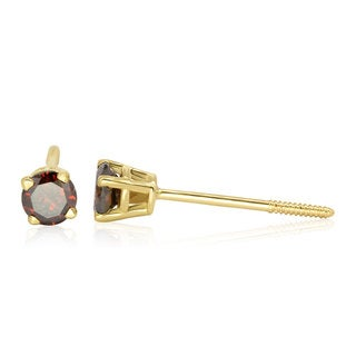14K Yellow Gold Champagne Diamond Stud Earrings