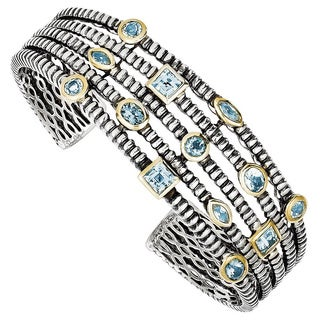 Versil Shey Couture Sterling Silver and Goldtone 4 4/5ct Sky and Swiss London Blue Topaz Cuff Bracelet