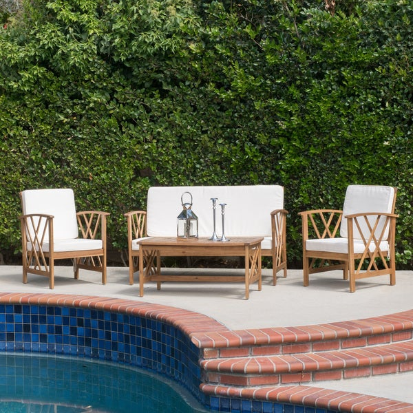 Christopher Knight Home Langdon Outdoor 4-piece Acacia Wood Chat Set with Cushions