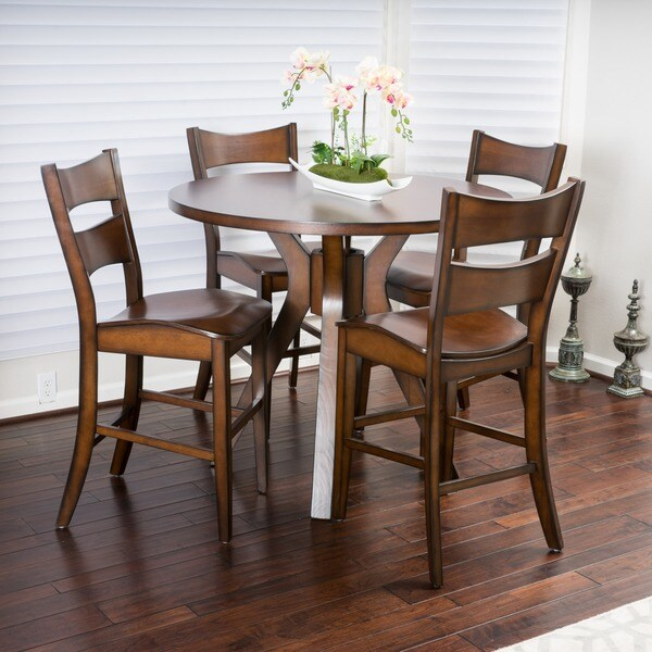 knight home tehama 5 piece round counter height wood dining set