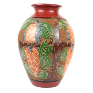 Handmade 13-inch Tall Vase - Parrot Design (Nicaragua)
