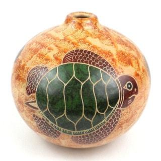 Handmade 4-inch Round Vase - Turtle on Sand Design (Nicaragua)