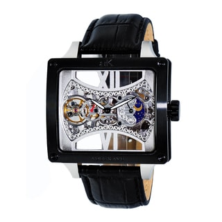 Adee Kaye Mens Square Glass-Skeletal Design Timepiece