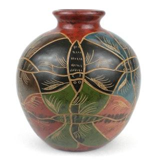 Handmade 7-inch Tall Vase - Modern Butterfly Design (Nicaragua)