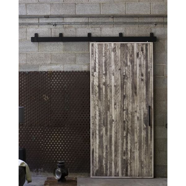 Rustica Hardware Vertical Rip Top Barn Door with Box Rail