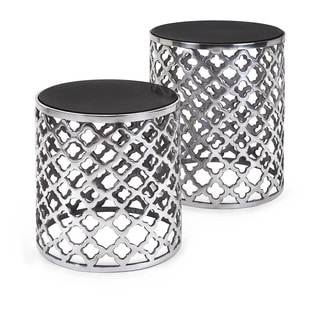 Aden Black Marble Top Tables (Set of 2)