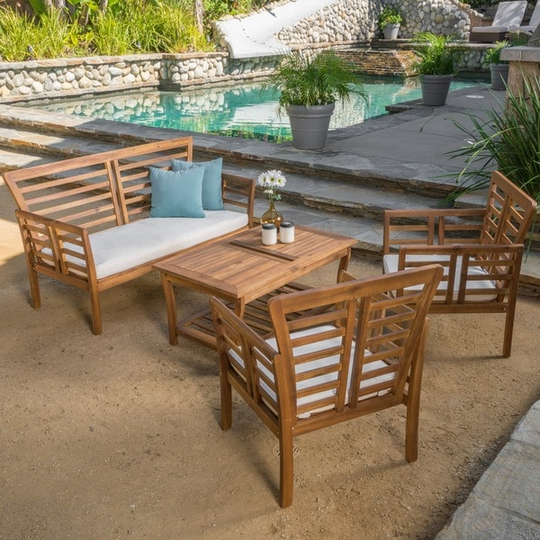 knight home emilano outdoor 4 piece acacia wood chat set with cushions