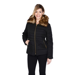 Excelled Women's Polyester Puffer Faux Fur Collar