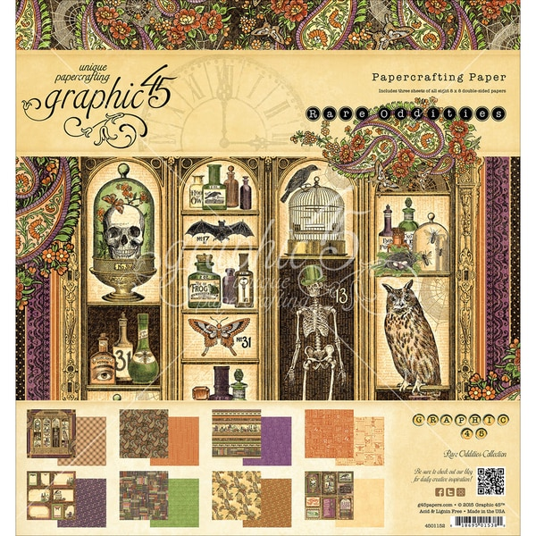 Graphic 45 DoubleSided Paper Pad 8inX8in 24/PkgRare Oddities, 3 Each Of 8 Designs