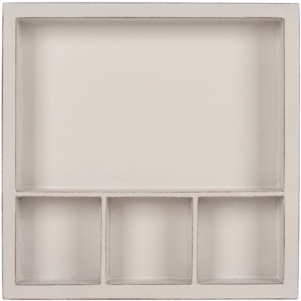 Solo Shadow Box Tray 6inX6inWhite, Holds (1) 6inX4in & (3) 2inX2in Photo