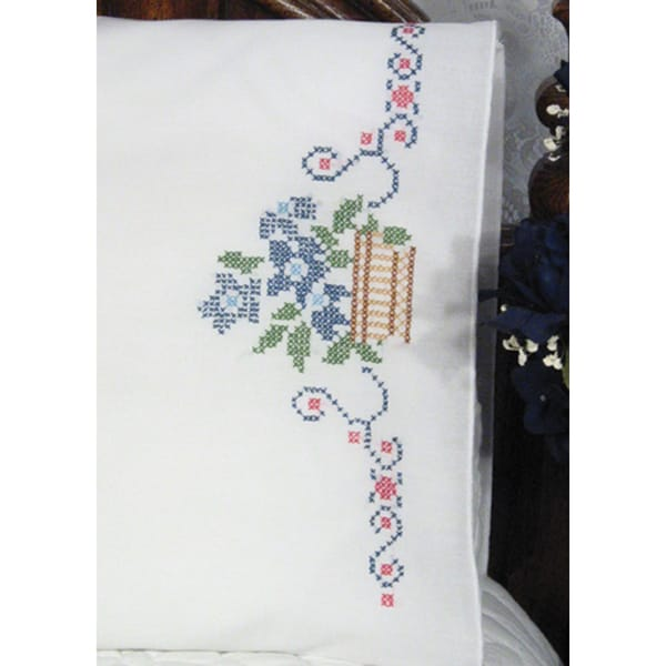 Stamped Perle Edge Pillowcases 30inX20in 2/PkgFlowers In Basket