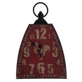 Somette Farmtime Clock Red 10-inch Accent Lamp