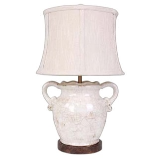 Somette Floras Distressed White Porcelain Vase 23-inch Table Lamp
