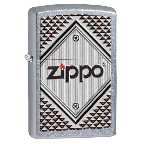 Zippo Red and Chrome Street Chrome Lighter