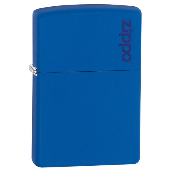 Zippo Royal Blue Matte Lighter Zippo Logo