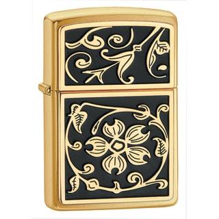 Zippo Gold Floral Flush Emblem Brushed Brass Lighter