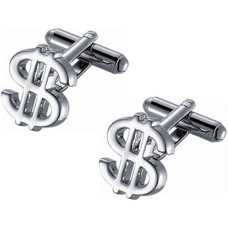 Dollar Sign Rhodium Novelty Cufflinks