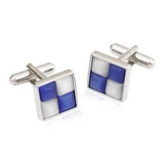 White and Blue Catseye Cufflinks