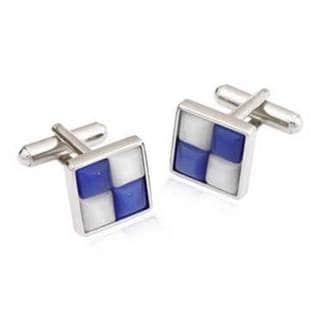 White and Blue Catseye Cufflinks