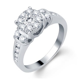 10k White Gold 1ct TDW Halo Diamond Engagement Ring (H-I, I1-I2)