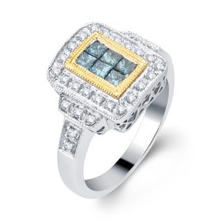 Divina 14k Two-tone Gold 5/8ct TDW Blue and White Diamond Fashion Ring (H-I, I2-I3)