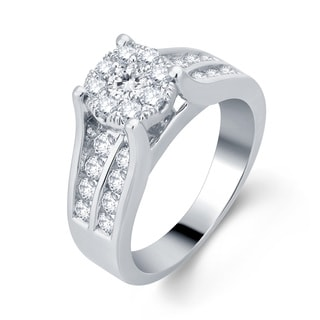 10k White Gold 1 1/6ct TDW Diamond Halo Engagement Ring (H-I, I1-I2)