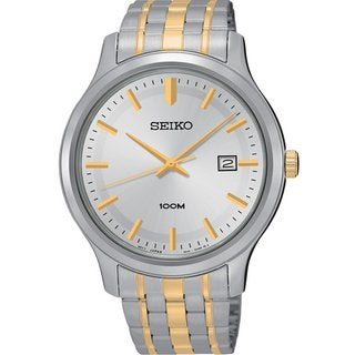 Seiko Men's SUR147 Stainless Steel Two ToneWhite Dial 100M Water Resistant Watch