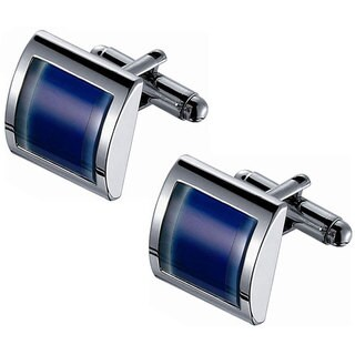 Two-tone Rhodium-plated Stainless Steel Blue Catseye Cufflinks