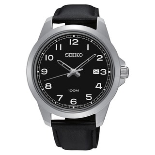 Seiko Men's SUR159 Stainless Steel Genuine Leather 100M Water Resistant Watch