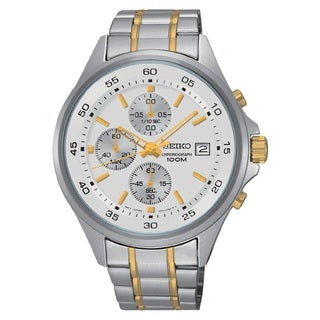 Seiko Men's SKS479 Stainless Steel Chronogeaph Two Tone White Dial 100M Water Resistant Watch