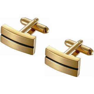Stainless Steel Black Enamel Stripe Rectangular Golden Finish Cufflinks