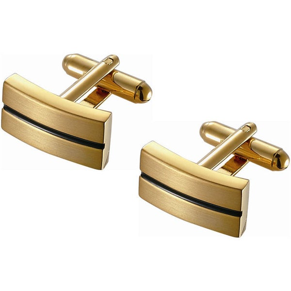 Stainless Steel Black Enamel Stripe Rectangular Golden Finish Cufflinks