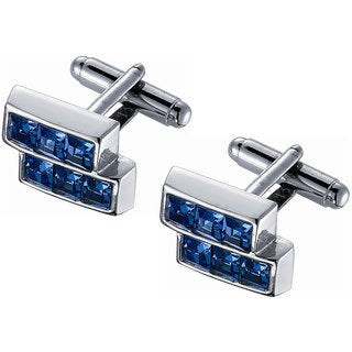 Stainless Steel Blue Crystal Silver Frame Cufflinks