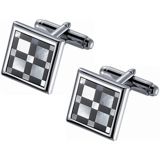 Stainless Steel Square Mother of Pearl Black Onyx Checked Rhodium Cufflinks