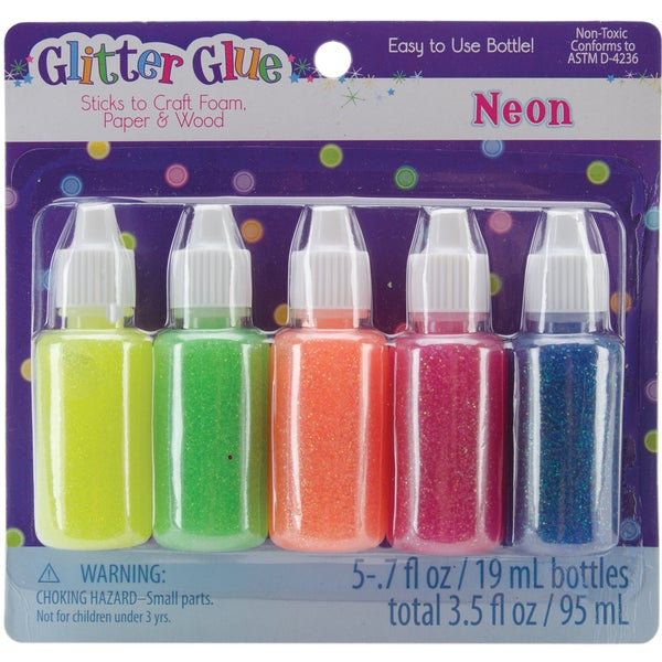 Glitter Glue .7oz 5/PkgNeon