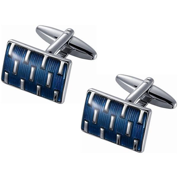 Stainless Steel Blue Enamel and Rhodium Cufflinks